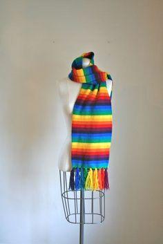 vintage rainbow scarf  RAINBOW BRIGHT long knit scarf by MsTips, $22.00