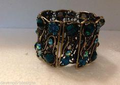 Copper Metal Cuff Bracelet  Emerald Green Blue Stones Hand Painted Jewelry Gift #DavenportDesigns #OpenCloseBackCuffBraclet