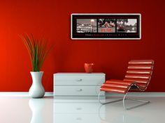 """Déclinaison panoramique de notre poster """"Balade à Toulouse en rouge & noir"""". Triptique de photos reproduites sur un poster de belle qualité au format 33x93 cm. Imprimé en France."""