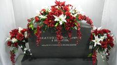 Mixed Bush & Wisteria Cemetery Flower Headstone Saddle + Matching Vase Bushes