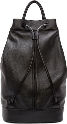 Juun.J Black Leather Drawstring Backpack