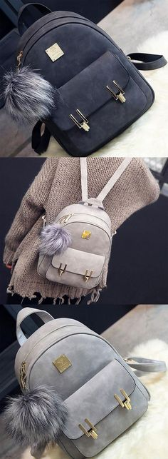 Fashion Frosted PU Zippered School Bag With Metal Lock Match Backpack for big sale! #pu #frosted #fashion #school #backpack #Bag #college #rucksack #student #Girl #cute #travel