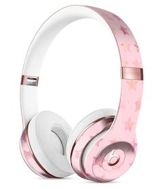 The Baby Pink Watercolor Stars Full-Body Skin Kit for the Beats by Dre Solo 3 Wireless Headphones