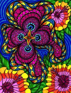 hippie art!  zentangle in colour...