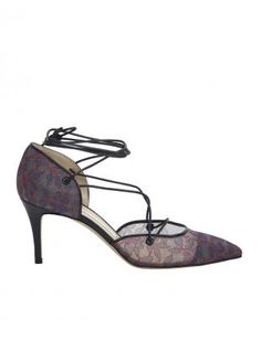 f691d20c57c4 Young British Designers  Nicole Dark Denim   Red Floral Lace Mid Heel Pumps  by Bionda