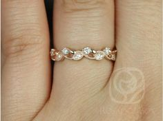 Rosados Box Daphine 14kt Rose Gold Thin Weaving Leaves DIamonds Berries Halfway Eternity Band