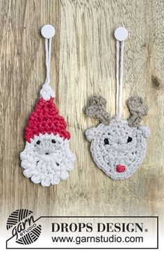 Jolly Good Mates - Crochet Santa and reindeer for Christmas in DROPS Cotton Light. - Free pattern by DROPS Design Crochet Santa, Crochet Amigurumi, Crochet Gifts, Crochet Toys, Free Crochet, Crochet Christmas Decorations, Christmas Crochet Patterns, Crochet Ornaments, Holiday Crochet