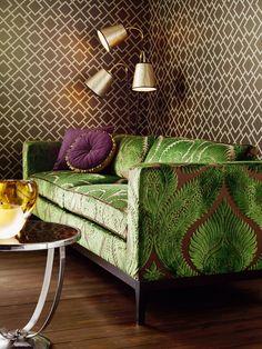 dryden velvet osborne and little - green sofa ♡ Bohemian Living Spaces, Furniture Decor, Furniture Design, Velvet Furniture, Leather Furniture, Osborne And Little, Green Velvet Sofa, Pink Sofa, Fabric Sofa