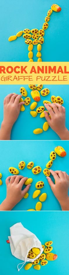 DIY Rock Animal Giraffe Puzzle. Fun for kids to paint and build! Cute on-the-go game and puzzle for kids.