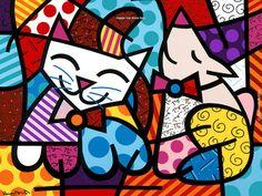 "Poster ""Happy Cat & Snob Dog by Romero Britto"" - 38 x 29 cm Art Pop, Arte Elemental, Graffiti Painting, Graffiti Art, Bright Art, Decoration Design, Pin Up Art, Elementary Art, Jamestown Elementary"