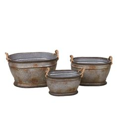 Another great find on #zulily! Galvanized Metal Oval Planter - Set of Three #zulilyfinds