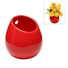 Red Petite Wall Mounted, Hanging Or Freestanding Decorative Ceramic Flower  Planter Vase Holder Display MyGift