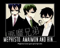 Mephisto, Amaimon and Rin by akuma-no-kurayami