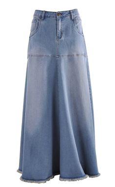 """Skirt Details: * floor length 39"""" * low-rise fit * stretch mid-weight blue denim * five pockets styling & fringe hem * belt loops & front zip * flared style long skirt * 80% cotton, 17% polyester, 3%"""