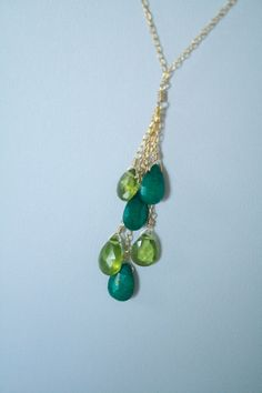 Beautiful Colorful Emerald and Peridot Briolette Necklace On Gold