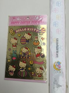 Metallic Vintage NEW Stock 1980's Sanrio Hello Kitty sticker sheet. 2 Sides of Sparkle Gold and Blue. Very Shiny! ©1976 1984 Sanrio Co. LTD