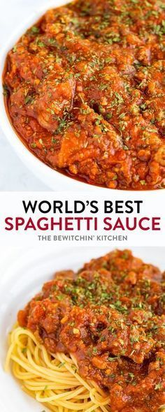This homemade spaghetti sauce recipe is so darn good! It's easy, tasty, and very well could be the world's best spaghetti sauce ever! It makes a lot too! Enough to feed a crowd. Easy enough to throw in a slow cooker or Instant Pot too! Meat Sauce Recipes, Pasta Recipes, Beef Recipes, Cooking Recipes, Italian Dishes, Italian Recipes, Best Spaghetti Sauce, Slow Cooker Spaghetti Sauce, Sauces