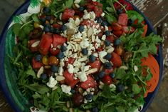 Tomato Watermelon with Blueberry Salad. Red, White and Blue and perfect for summer and 4th of July!