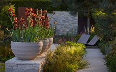Chelsea garden with irises planted in Belgian pots from Atelier Vierkant, (also available in San Francisco.)