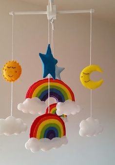 Check out this item in my Etsy shop https://www.etsy.com/uk/listing/270066341/rainbow-baby-mobile-cot-mobile-crib