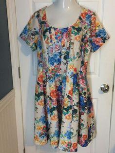 NWT Robbie Bee 2X Plus Size Dress Floral Print Short Sleeve  #RobbieBee #Dress #Casual