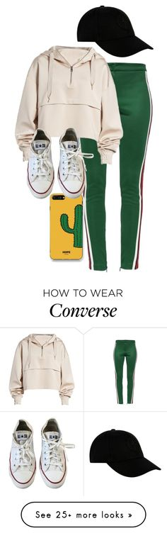 """Liam Dunbar"" by samtiritilli666lol on Polyvore featuring Gucci, Ivy Park, STONE ISLAND, WithChic and Converse"