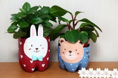 Recycled Plastic Bottle Puppy Planter