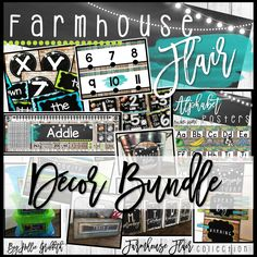 """My newest farmhouse classroom decor is rich with charm! It is full of galvanized metal, shiplap, wood grains, chalkboards, string lights, lanterns, and a little green and teal to liven it up! It is sure to give you the PERFECT """"home away from home."""""""