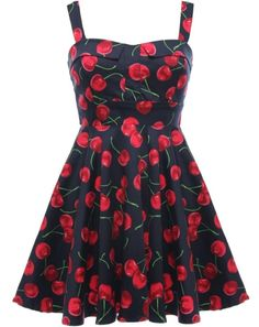 Cherry Jubilee Dress: Features beautiful one-inch straps with a collared and padded bust, charming cherry print brightening both sides of the dress, matching ribbon ties at back, and a ladylike A-line silhouette to finish.