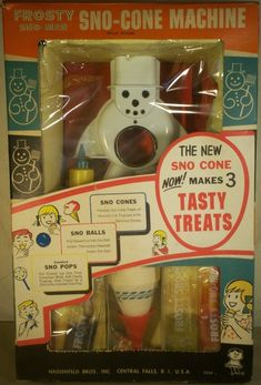 HASBRO: 1967 Frosty Sno-Cone Machine Another great Christmas morning surprise. HASBRO: 1967 Frosty Sno-Cone Machine Another great Christmas morning surprise. My Childhood Memories, Childhood Toys, Sweet Memories, School Memories, 1960s Toys, Retro Toys, 1980s, Photo Vintage, Vintage Ads