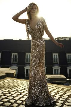 Gold Sequin Gown, What to Wear to a Black-Tie Event, Long Sequin Dress, Vintage Sequin Dress