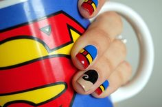 4 Clever Superman Nail Art Ideas Designing your nails is SO EASY with MOYOU nail art kits! Visit our website: Superman Nails, Superhero Nails, Superhero Superman, Superhero Party, Girls Nail Designs, Cute Nail Designs, Awesome Designs, Love Nails, Pretty Nails
