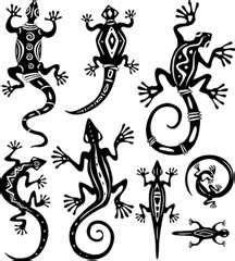 Clipart of Decorative lizards - Search Clip Art, Illustration Murals, Drawings and Vector EPS Graphics Images - Lizard Tattoo, Gecko Tattoo, Afrique Art, Native American Symbols, Marquesan Tattoos, Doodles Zentangles, Gourd Art, Aboriginal Art, Native Art