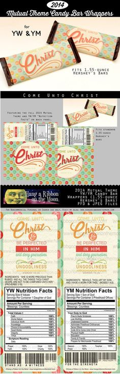 2014 Mutual Theme Come Unto Christ YW/YM Candy Bar Wrappers for 1.55-ounce Hershey's bars. Free download!