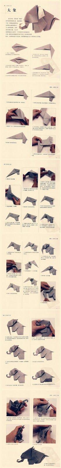 Tutorial paso a paso para hacer un elefante de origami o papiroflexia.
