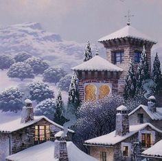by Luis Romero Cute Wallpaper Backgrounds, Cute Wallpapers, Pintura Exterior, Snow Pictures, Cottage Art, Spanish Painters, Photos Voyages, Art Graphique, Environmental Art
