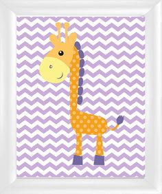 Giraffe Orange Polka Dot on Purple Chevron Nursery Kids Room Wall Art, 8x10 on Etsy, $15.00