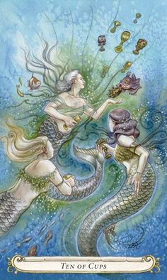 """Aligned with Mars in Pisces, the Ten of Cups indicates a deep and lasting satisfaction with oneself and one's relationships. It signifies a binding love, the arrival and recognition of a Soul Mate.   (See the rest on http://facebook.com/ATarotADay)  Image from """"The Fairy Tale Tarot"""" © Lisa Hunt"""