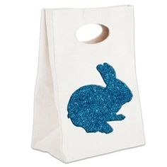 Blue Glitter Silhouette Easter Bunny Canvas Lunch > Lunch Bags > Atteestude T-Shirts And Gifts  #school supplies