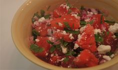 Watetmelon, feta and mint salad. This was a refreshing surprise! The juicy sweet watermelon, salty creamy feta and crisp mint work wonderfully. This makes great summer salad for potluck or picnic side.
