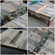 Bauanleitung Holz Tisch Europaletten Pflanzgefäße