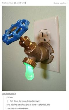 "Green LED Faucet Valve night light It's a. - Green LED Faucet Valve night light "" It's a standard ¾"" brass sillcock, converted into a night light. Turning the valve actually turns on the ¼ watt LED bulb in the hanging drop of ""water"". Green Led, Cool Inventions, My New Room, Kids Room, Boys Room Ideas, Cool Boys Room, Boy Room, Household, Geek Stuff"