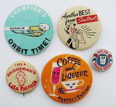 Midcentury Illustrated Advertising Buttons
