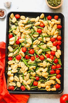 Crispy Sheet Pan Gnocchi with Spring Vegetables and Pea Pesto | Joanne Eats Well With Others