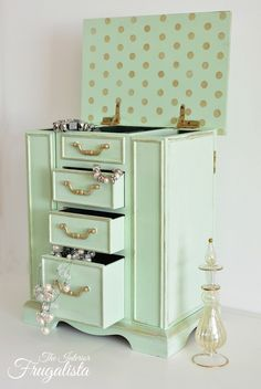Mint Jewelry box makeover AFTER with open drawers|The Interior Frugalista (love the interior surprise polka dots)