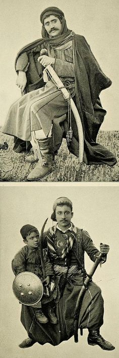Two men in ceremonial costumes, from Beyrouth (Libanon), 1894.  Top: an Arab landlord.  Bottom: a Turkish townsman.