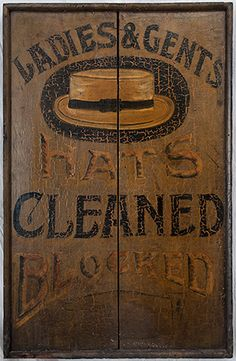 "Hat trade sign. All original condition, including paint and bordered frame. Found in Connecticut. c.1880-1900. 36"" x 23 1/2"""