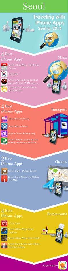 Seoul iPhone apps: Travel Guides, Maps, Transportation, Biking, Museums, Parking, Sport and apps for Students.
