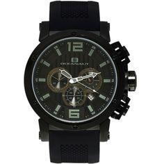 Men's Black Dial Black Silicon - Oceanaut Watch