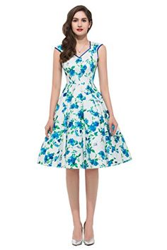 Womens Floral Print Sleeveless V-Neck Vintage Dress 5 Colors >>> Details can be found by clicking on the image.